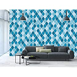Large Wall Mural Sticker [ Light Blue,Harlequin Winter Theme Pattern Elongated Squares Aquatic Colors Antique Italian Decorative,Multicolor ] Self-adhesive Vinyl Wallpaper / Removable Modern Decoratin