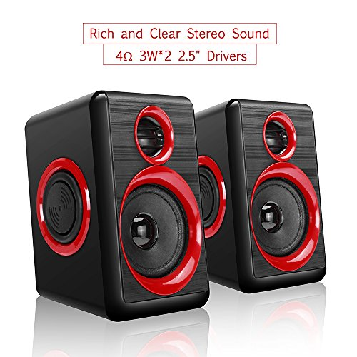 Computer Speakers With Heavy Bass,Subwoofer, Volume Control, 3.5mm Audio, USB Wired Powered Built-in Four Loudspeaker Diaphragm Multimedia Speaker for PC/Laptops/desktop/ASUS/ACER Computer (RED) by TOMOT (Image #2)