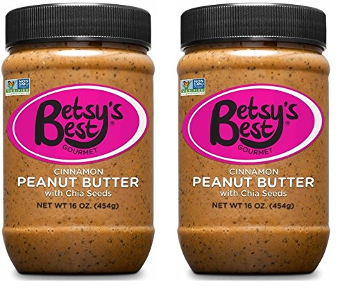 Gourmet Cinnamon Peanut Butter w/Chia Seeds by Betsy's Best - All Natural and GMO Free (Cinnamon Chia, 2 16 oz Jars) ()