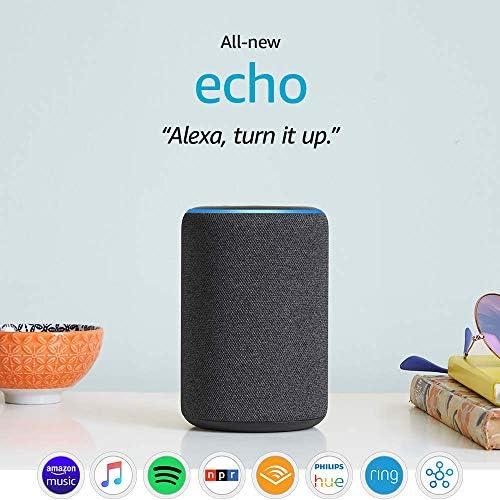 Certified Refurbished Echo (third Gen)- Smart speaker with Alexa- Charcoal