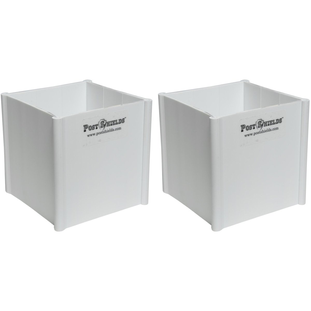 Pack of 2 - Post Shields 4'' x 4'' x 4'' (FITS 3.5'' x 3.5'' POSTS) - White - Fence Post Protection from Grass Trimmers