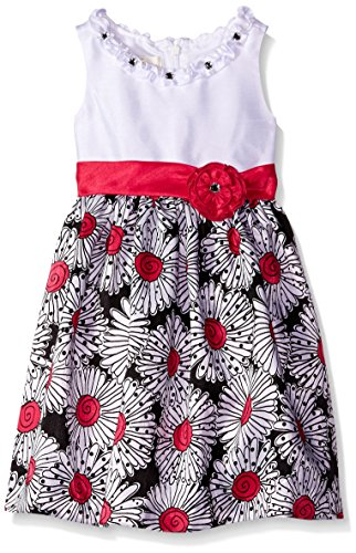 American Princess Little Girls' Solid Bodice Shantung  Dress, Black Hot Pink, 4