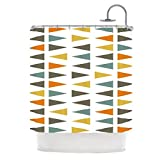 Kess InHouse Pellerina Design ''Stacked Geo'' White Triangles Shower Curtain, 69 by 70-Inch