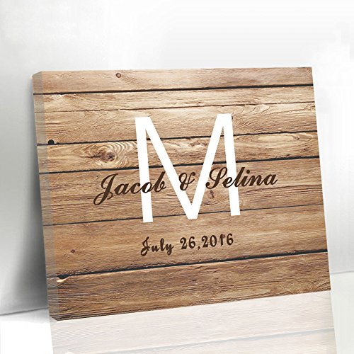 (Wedding Guest Book Ideas for Couple Wooden Design Name Personalized Wedding Gift Canvas Guestbook Alternative Sign)