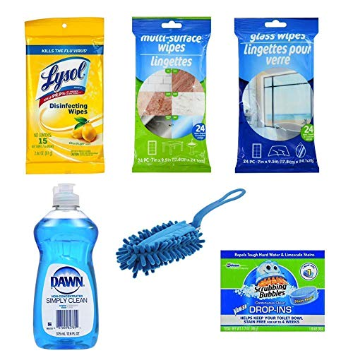Dorm Cleaning, Dorm Cleaning Kit, Dorm Room Cleaning Supplies includes Dishsoap, Multi-Purpose Wipes, Glass Wipes, Toilet Drop-In Cleaner, Duster & Disinfecting Wipes Cleaning Set