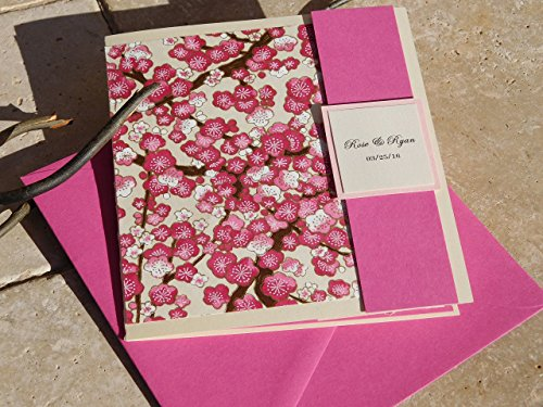 Beautifully Handcrafted Cherry Blossom Invites.Set of 25 Customized Pocket-fold Wedding Invitations. Fuchsia Card, Japanese, Chinese.