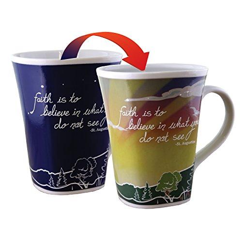Inspirational Faith Quote Mugs - Coffee Mug for Gifts - Color Changing Mug, 16 oz. porcelain, Square Shape, by Think Pray Gift by Think Pray Gift