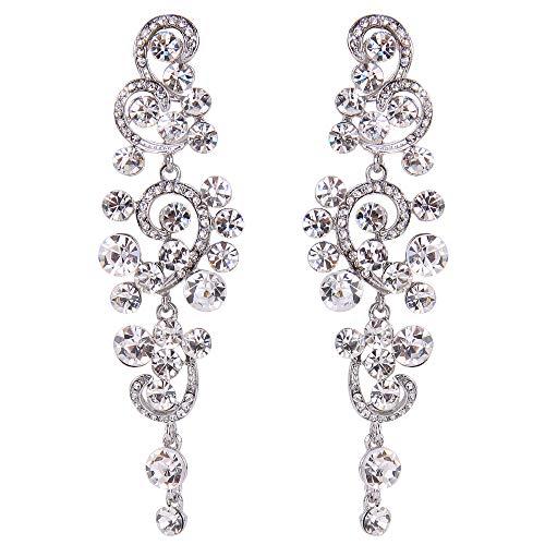 (BriLove Wedding Bridal Statement Earrings for Women Bohemian Boho Crystal Floral Hollow Chandelier Dangle Earrings Clear Silver-Tone)