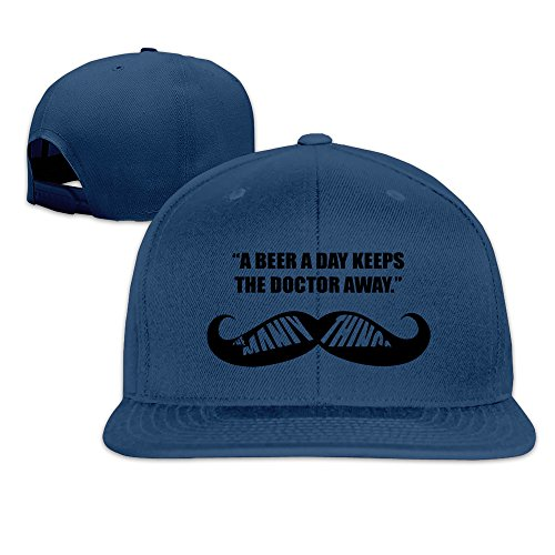 BASEE A Beer A Day Keep The Doctor Away Adjustable Flat Along Baseball Cap Navy (A Beer A Day Keeps The Doctor Away)