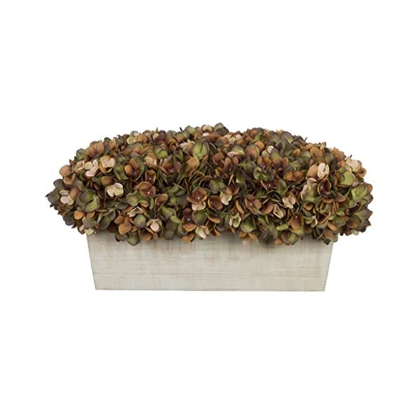 Artificial Hydrangeas in White-Washed Wood Ledge (Coffee/Sage)