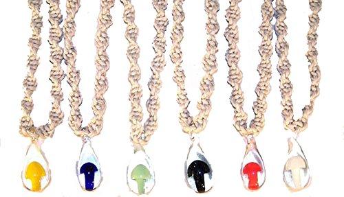 Novelties Company 12 Pieces (1 Dozen) Bulk LOT Assorted Color Glass Mushroom Pendant on Twisted Hemp 18 Inch Necklace