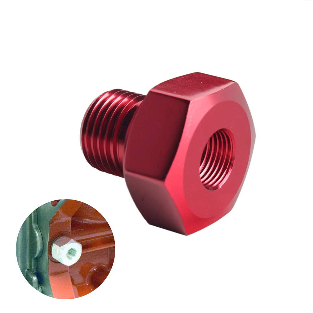 DEWHEL Red Aluminum LS Engine Swap M16 1.5 Adapter to 1/8 NPT Oil Pressure Sensor for Oil Pressure Gauge 551172 LS1 LS2 LS3 LS6 LS7 LS 4.8 5.3 5.7 6.0 Swap Fits Camaro, Firebird and More
