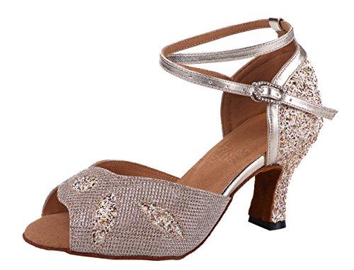 Honeystore Frauens Blatt Funkelnde Glitzer Heels Sandalen Latin mit Knöchelriemen Tanzschuhe Champagner