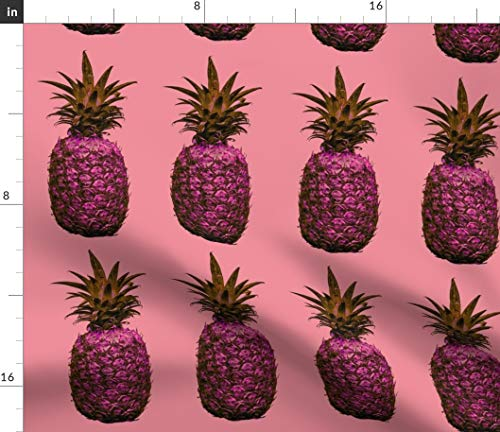 - Pineapple Fabric - Hawaii Pink Pineapple Aloha Hawaii Fruit Pattern Tropical Fruits Girl Room Print on Fabric by the Yard - Basketweave Cotton Canvas for Upholstery Home Decor Bottomweight Apparel