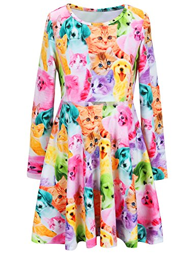 Jxstar Girls Dress Animal Cat Dog Print Dress Long Sleeve tshirt Dress Cat Dog 160 Cat Dog Fall 12-13Years Height 62in