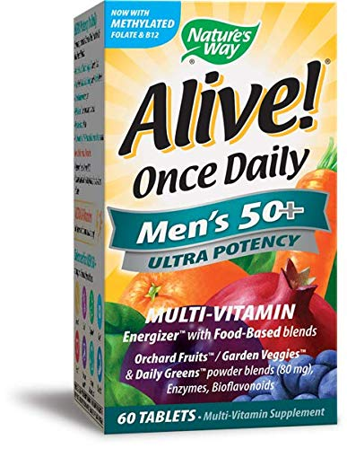 Nature's Way Alive! Once Daily Men's 50+ Multivitamin, Ultra Potency, Food-Based Blends, 60 Tablets, Pack of 2
