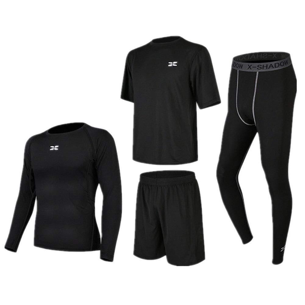Wuxingqing Gym Wear Fitness Bekleidung Set Kompressionsanzüge für Herren 4 in 1 Set mit Kompressions-Langarmhemd, Kompressionshose, Kurzarm-T-Shirt, Shorts (Color : Black, Size : XXXL)