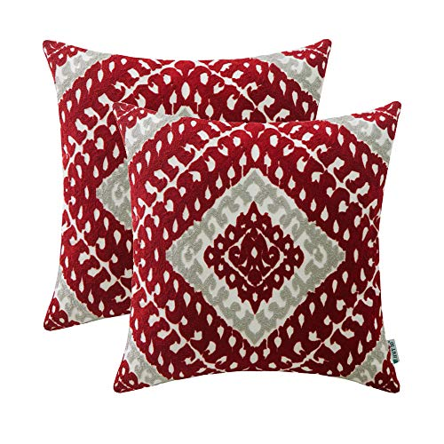 dered Christmas Decorative Throw Pillows Covers Sets Cushion Case for Couch Sofa Bed Living Room 18 x 18 inches Modern Chic Geometric, Wine Red Pack of 2 ()