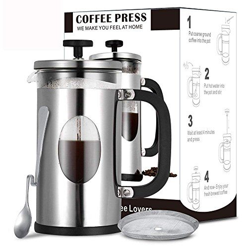 - French Press Coffee Maker, TOP-MAX Coffee French Press Tea Maker 34 oz Best Coffee Pot with Stainless Steel, Heat Resistant Borosilicate Glass