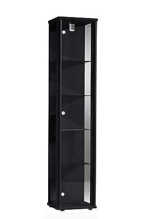Vitrine 176x37x33 Cm Collection Miniature Noir Avec 4 étagères En