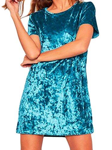 Stylish Velvet Casual T Shirt Short Sleeve Sexy Mini Dress Blue S