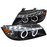 bmw 325xi headlights - Spec-D Tuning 2LHP-E9005JM-8-TM Bmw E90 3-Series 4Dr Led Dual Halo Black Projector Head Lights