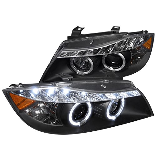 Spec-D Tuning 2LHP-E9005JM-8-TM Bmw E90 3-Series 4Dr Led Dual Halo Black Projector Head (Bmw 325i Headlight Assembly)