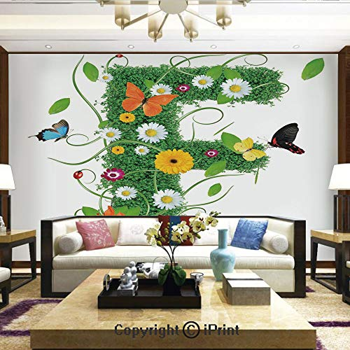 (Nature Wall Photo Decoration Removable & Reusable Wallpaper,Natural Inspirations with Animals and Flowers Butterflies Daisies Pattern Decorative,Home Decor - 100x144 inches)