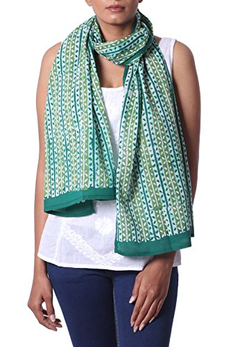 (NOVICA Green 100% Batik Cotton Shawl, Leafy Vines')