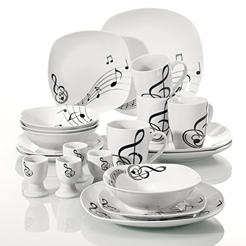 VEWEET 20-Piece Porcelain Dinnerware Set Musical Note Patterns Plate Sets, Service for 4 (MELODY ()