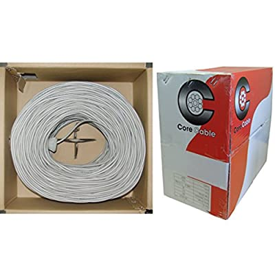 Security/Alarm Wire, Gray, 18/6 (18AWG 6 Conductor), Stranded, CM / Inwall rated, Pullbox, 1000 foot - Low Voltage Stranded Copper Spool Solid Conductor protect speaker cable