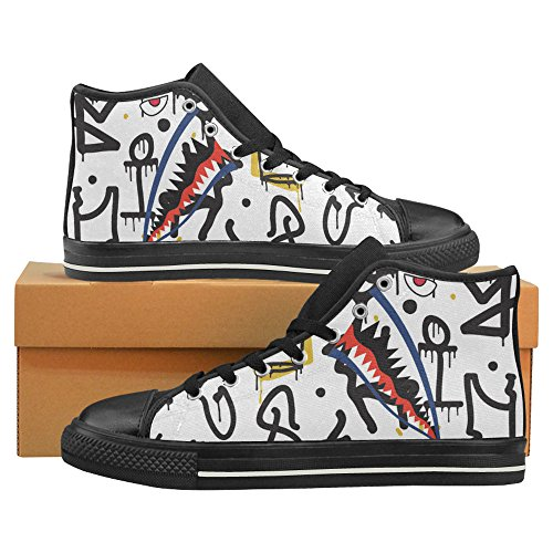 D-Story Custom Shark Teeth Graffiti Mens Classic High Top Canvas Shoes Fashion Sneaker