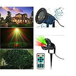 L&T STAR Lawn Projection Lamp Double Hole Static Remote Control Festive Lights Atmosphere Lights Garden Forest Grass Surface Water House, Etc. Can Be Used