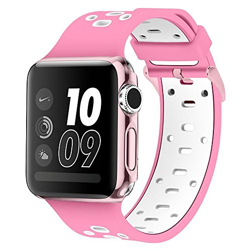 Compatible Apple Watch Series 4 Band, Alritz Silicone Sport Strap Replacement for Apple Watch Series 4/Series 3/Series 2/Series 1/Nike+ (Rose Pink/White, 38mm/40mm)
