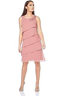041e54950a983 Roman Originals Women's Pretty Frill Chiffon Dress with Tonal Diamante  Stones - Ladies Plus Summer Evening