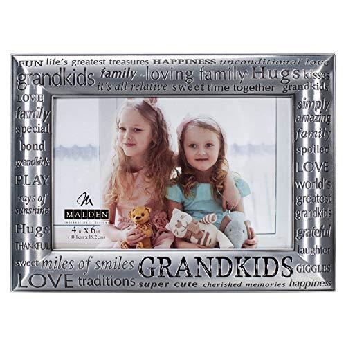 Malden International Designs Modern Pewter Metal Diecast Grandkids Expressions Picture Frame, 4 by 6-Inch