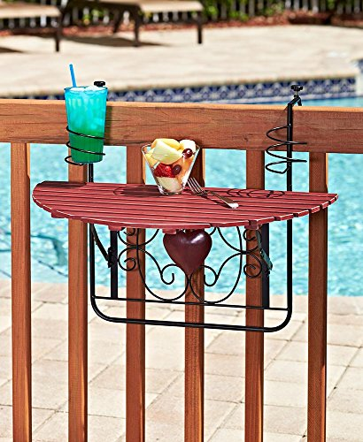 The Lakeside Collection Folding Deck Tables for Balcony Railings and Patio Fences - Red (Patio Lakeside)