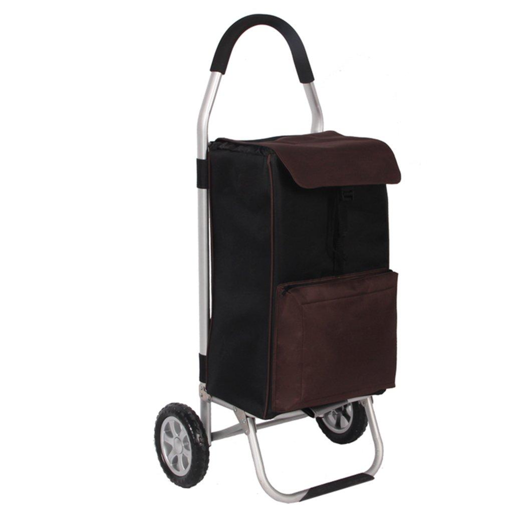 KTYX アルミ合金ポータブルショッピングカート、ショッピング、折りたたみ、荷物、小物カート、新鮮な機能 トロリー   B07H4LTZ6T