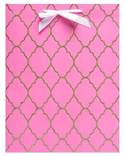 American Greetings Pink and Gold Glitter Trellis Medium Gift Bag