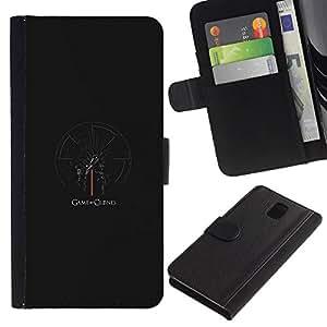 Protector de cuero de la PU de la cubierta del estilo de la carpeta del tirón BY RAYDREAMMM - Samsung Galaxy Note 3 III - Tronos Serie
