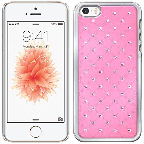 eFabrik Bling Hard Case für Apple iPhone SE Schutzhülle kompatibel mit iPhone 5 / 5S Hülle Cover Handytasche Hartschale Strass Rosa