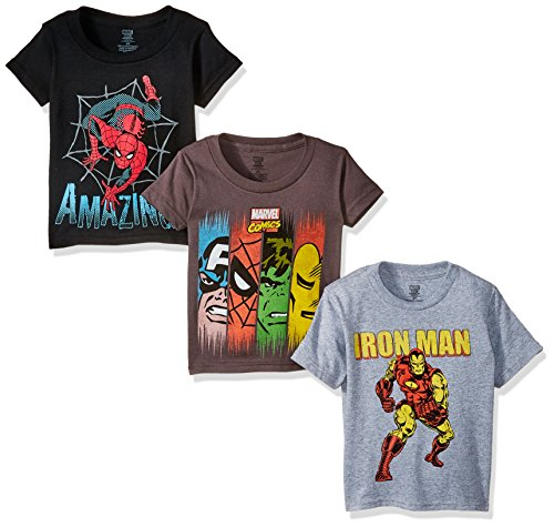 Marvel Boys' Toddler Boys' Super Heroes 3 Pack T-Shirt Bundle, Charcoal/Black/Heather Grey, -