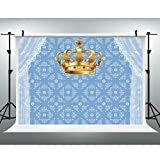 LUCKSTY Royal Prince Birthday Party Backdrops for Photography 9x6ft White Curtain King Gold Crown Blue Background for Baby Shower Cake Table Decor Photo Booth Props LULF313 Boy Party Supplies