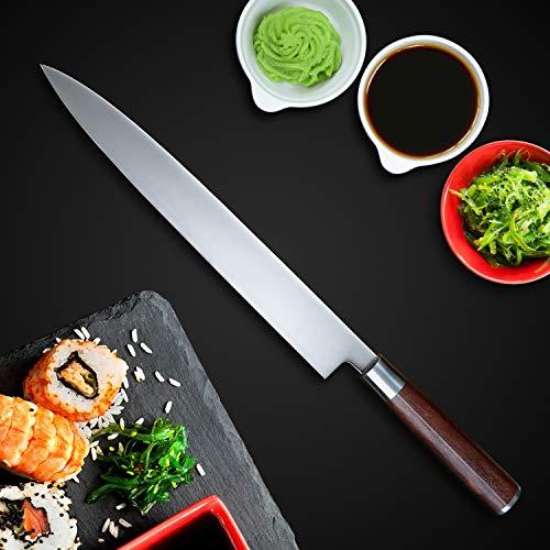 Sushi Knife, KEEMAKE Sashimi Yanagiba Knife Japanese - VG10 2-Layer Ply Steel Blade with Brazilian Pear Wood Handle by KEEMAKE (Image #3)