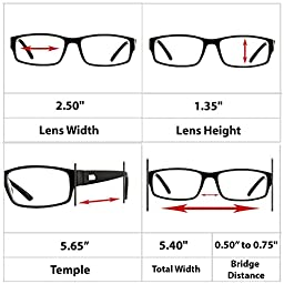 Reading Glasses _ 3 Pack Black Always Have a Professional Look, Crystal Clear Vision and Sure-Flex Comfort Spring Arms & Dura-Tight Screws _ 100% Guarantee +1.50