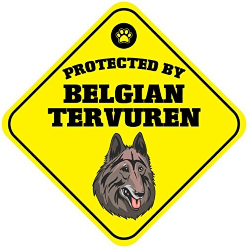 Protected by Belgian Tervuren Dog Crossing Vinyl Label Decal Sticker 12