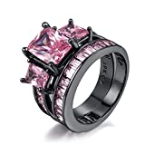 Herinos Wedding Rings Sets Black Gold Pink Square CZ Promise Engagement Rings for Women Size 9