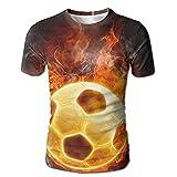 Flame Over The Calf Soccer Men Casual Short Sleeve Sleep T-Shirt Tees