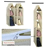 Detachable 6 Compartment Organizer Pouch Hanging Handbag Organizer Clear Purse Bag Collection Storage Holder Wardrobe Closet Space Saving Organizers System For Living Room Bedroom Home Use(Beige)