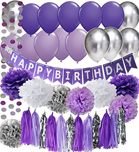 Purple Birthday Party Decorations Purple White Silver Tissue Pom Pom Happy Birthday Banner Purple Silver Latex Ballons Circle Paper Garland for Purple Birthday Decorations ()